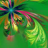 Diagonal Asymmetrical Multicolor Fractal Tracery. Collection - Frosty Pattern. On Green.