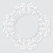 stock photo of carving  - carved vintage frame made of paper for picture or photo with shadow on white background - JPG