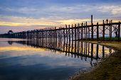 Ubein Bridge At Sunrise, Mandalay, Myanmar