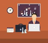 Set of flat design vector illustration concepts for workflow, strategy planning, goal-oriented plann