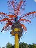 Color palm with parrots