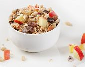 Healthy Muesli And Apple For Breakfast In A Bowl