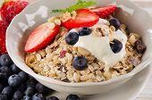 Healthy Breakfast -  Berries, Yogurt And  Muesli.