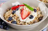 Healthy Breakfast - Ripe Berries, Yogurt And  Muesli.