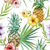 stock photo of tropical plants  - Beautiful watercolor vector tropical pattern with pineapples and hibiscus - JPG