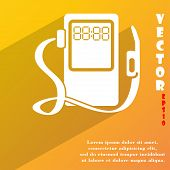 Gas, Fuel Station Icon Symbol Flat Modern Web Design With Long Shadow And Space For Your Text. Vecto