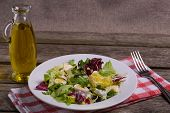 Green Salad Mix, Still Life On Rustic Wooden Background