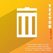 Recycle Bin Icon Symbol Flat Modern Web Design With Long Shadow And Space For Your Text. Vector
