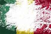 Malian flag. Grunge background. Vector illustration