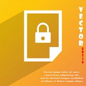 File Locked Icon Symbol Flat Modern Web Design With Long Shadow And Space For Your Text. Vector