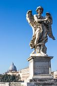 A Statue Of An Angel In The Bridge Of Hadrian In  Rome, Italy