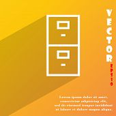 Safe Icon Symbol Flat Modern Web Design With Long Shadow And Space For Your Text. Vector