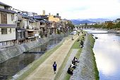 Kamo Riverside In Kyoto