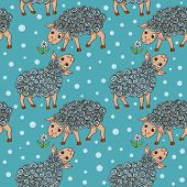 Cartoon Seamless Pattern With Happy Sheeps