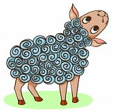 Cartoon Hand-drawn Happy Sheep