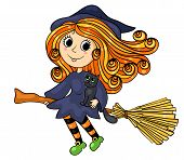 Cute Little Witch Flying