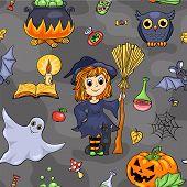 stock photo of halloween characters  - Cute Halloween seamless pattern - JPG