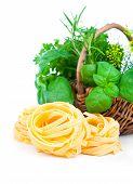Italian Pasta Fettuccine Nest With Wicker Basket Green Herbs