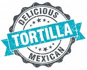 Tortilla Vintage Turquoise Seal Isolated On White