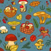 foto of chanterelle mushroom  - Seamless pattern with mushrooms - JPG