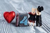 14 February. Valentines Day. Romantic Couple. Man, Woman And Read Heart. Clothespins. (soft Focus, 1
