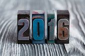 New Year Concept. 2016 Written With Colored Vintage Letterpress. Gray, Vintage, Wooden Background. S