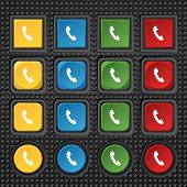 Phone Sign Icon. Support Symbol. Call Center. Set Colourful Buttons Vector