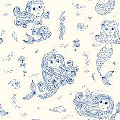Doodle Mermaids Seamless Pattern