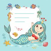 image of mermaid  - Cutest card with the mermaid princess - JPG