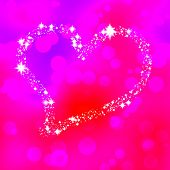 Soft heart composed of stars on pink bokeh background