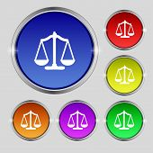 Scales Of Justice Sign Icon. Court Law Symbol. Set Colourful Buttons. Vector