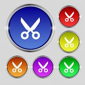 Scissors Hairdresser Sign Icon. Tailor Symbol. Set Colourful Buttons. Vector