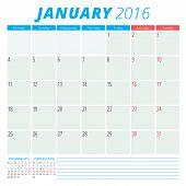 Calendar 2016 Vector Flat Design Template. January. Week Starts Monday