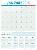 Calendar 2016 Vector Flat Design Template. Set Of 12 Months. Week Starts Monday