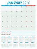 Calendar 2016 Vector Flat Design Template. Set Of 12 Months. Week Starts Monday