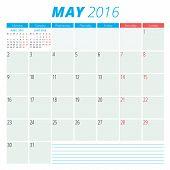 Calendar 2016 Vector Flat Design Template. May. Week Starts Monday