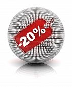 20 percent off sale tag on a sphere