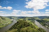stock photo of moselle  - Aerial view of beautiful river Moselle in Germany - JPG
