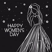 International Women's Day celebration with illustration of a young girl on stylish black background.