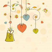 Colorful hanging hearts and gift for Happy Valentine's Day celebration on decorated background.