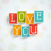 pic of corazon  - Colorful stickers or labels with text Love You for Happy Valentine - JPG