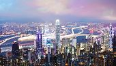 Hong Kong at night, long exposure
