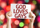 God Loves Gay card with colorful background with defocused lights