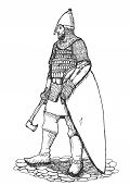 picture of armor suit  - Russian warrior standing in armor with axe and shield - JPG