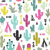 image of teepee tent  - Colorful cacti indian summer teepee and arrow cactus illustration theme background pattern in vector - JPG