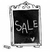 Chalkboard. Hand drawn. Sale announcement. Vector signboard.
