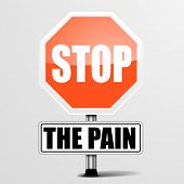 detailed illustration of a red stop the pain sign, eps10 vector