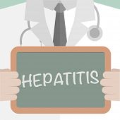 picture of hepatitis  - minimalistic illustration of a doctor holding a blackboard with Hepatitis text - JPG