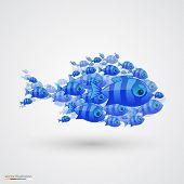 stock photo of shoal fish  - Pack of fish art icon - JPG