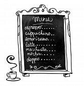 Chalkboard. Hand drawn. Coffee shop menu. Vector signboard.